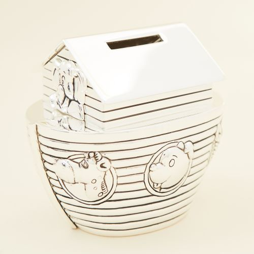 Personalised Noah's Ark Silver Money Box