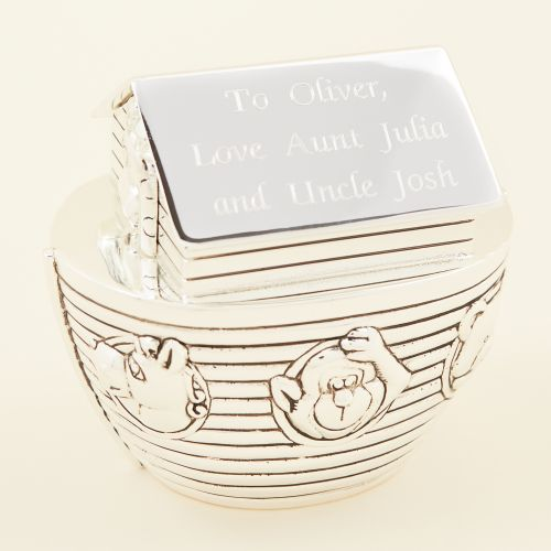 Personalised Noah's Ark Silver Money Box Personalisation