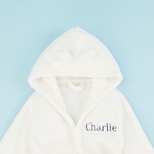 Personalised Ivory Hooded Fleece Robe