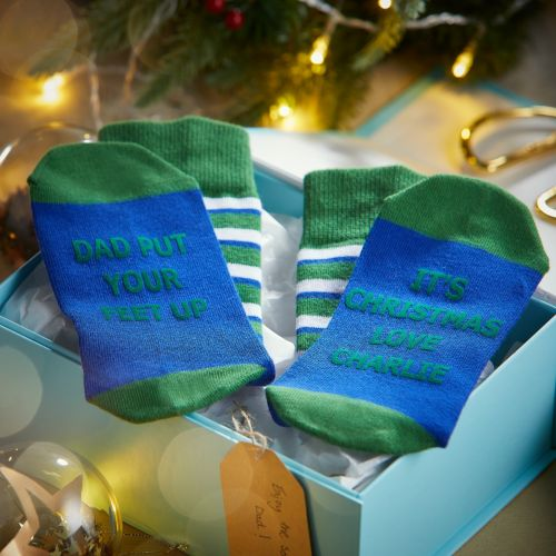 Personalised Blue and Green 'Put your feet up' Christmas Dad Socks