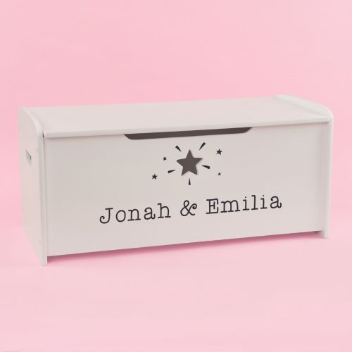 Personalised Large White Star Design Toy Box