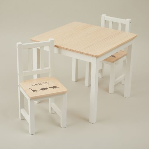Personalised Dinosaur Design Table and Chairs Set