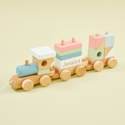 Personalised Wooden Train Pull-A-Long Toy with Blocks