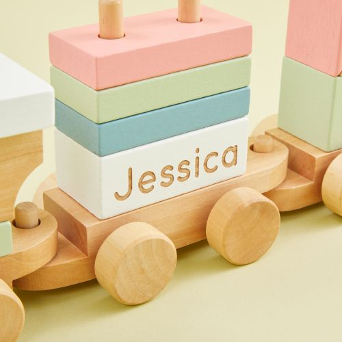 Personalized Wooden Train Pull-A-Long Toy with Blocks