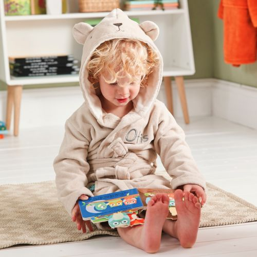 Personalized Taupe Bear Towelling Dressing Gown