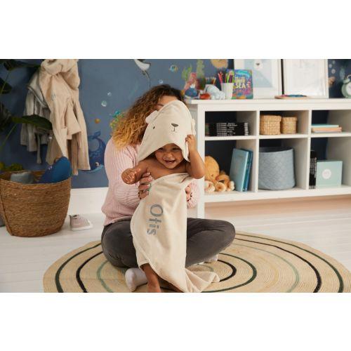 Personalised Taupe Bear Hooded Towel