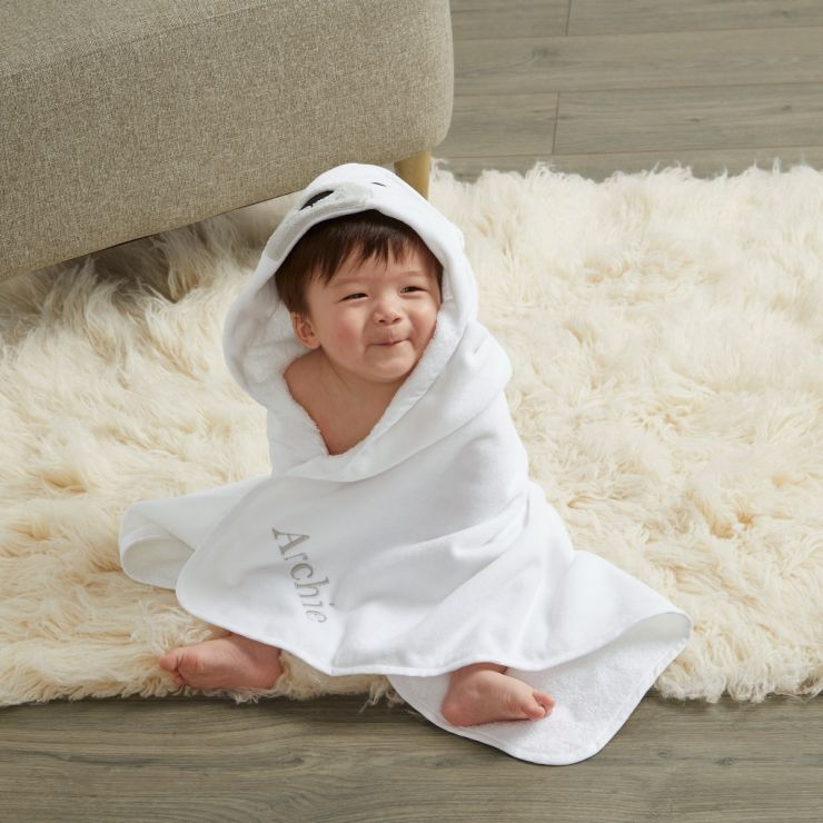 Personalized Polar Bear Hooded Towel