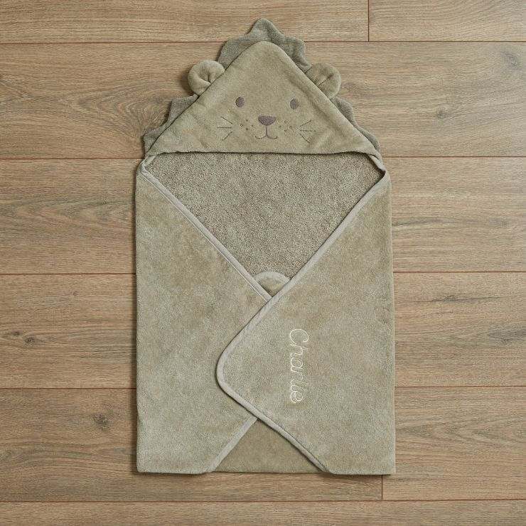 Personalized Taupe Lion Hooded Towel Flat View