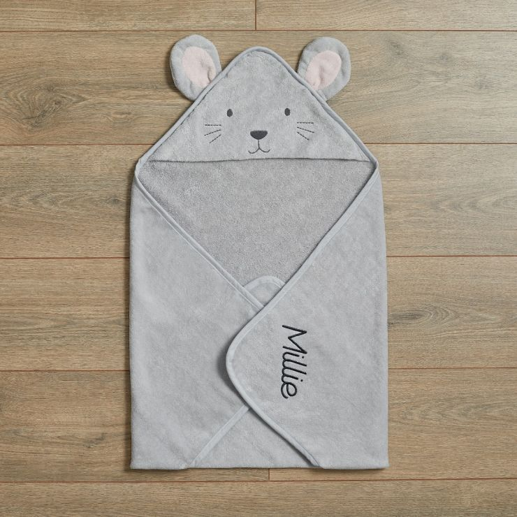 Personalised Grey Mouse Hooded Towel Flat View