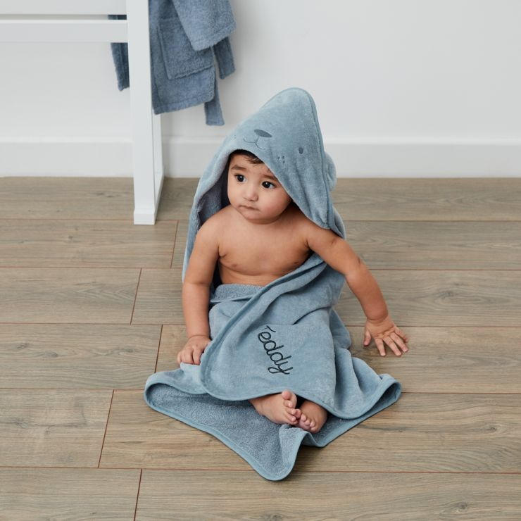 Personalized Blue Bear Hooded Towel