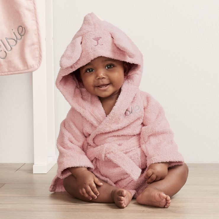 Personalized Pink Bunny Towelling Robe