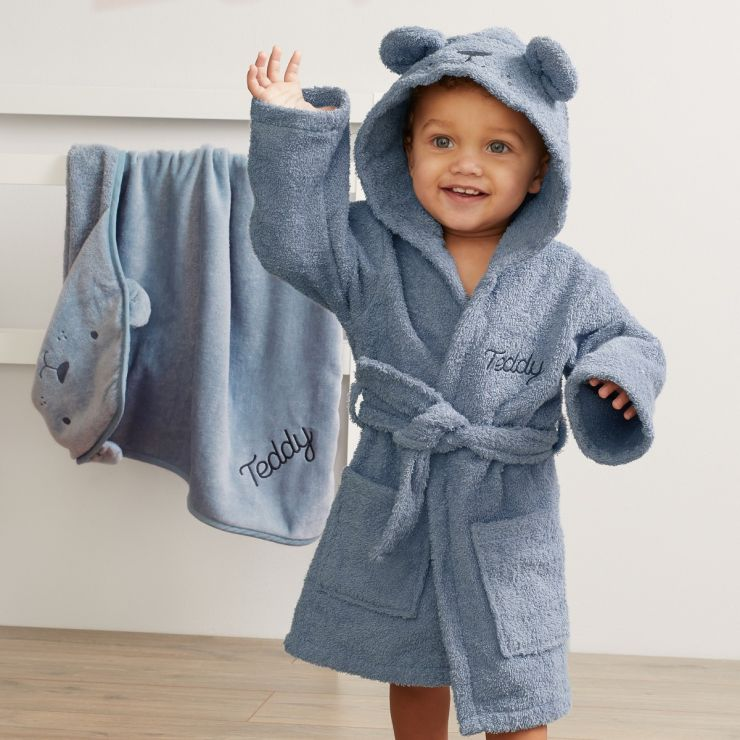 Personalized Blue Bear Towelling Robe