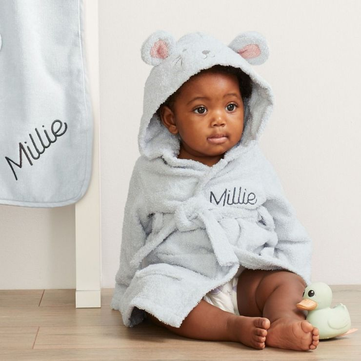 Personalized Gray Mouse Towelling Robe
