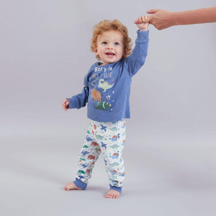 Personalised Jolly Jurassic Jersey Pyjama Set