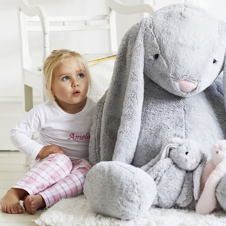 Personalized Supersized Gray Bunny Stuffed Animal - Model