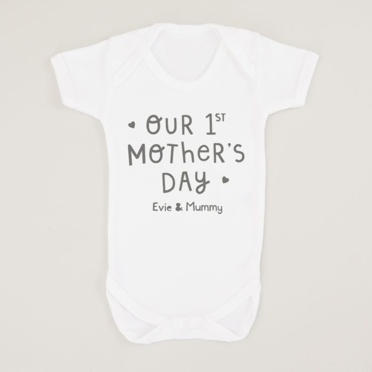 Personalised White 'Our 1st Mother's Day' Bodysuit