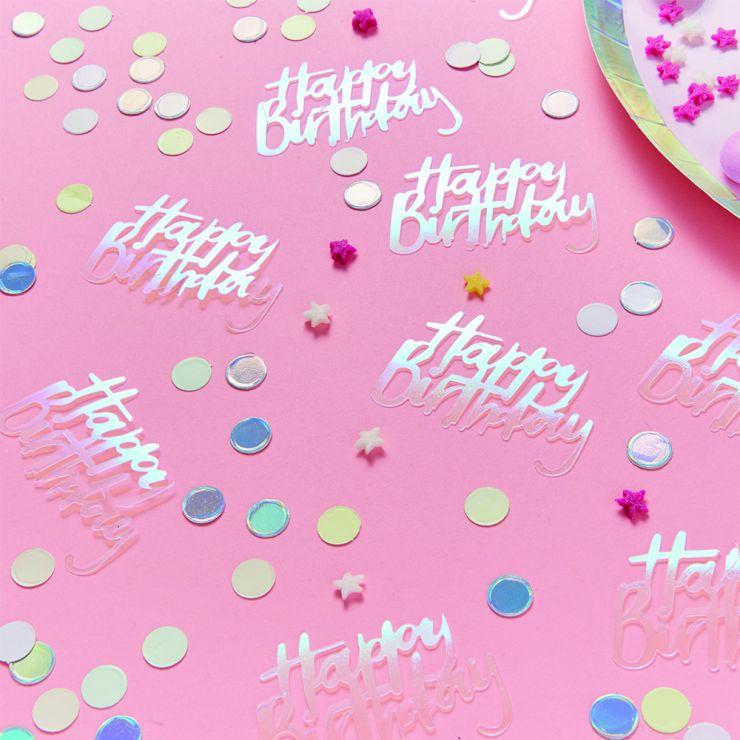 Ginger Ray Happy Birthday Iridescent Table Confetti