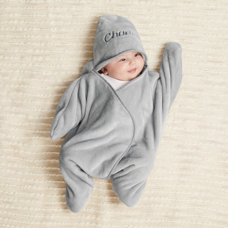 Personalized Gray Star Hooded Fleece Wrap
