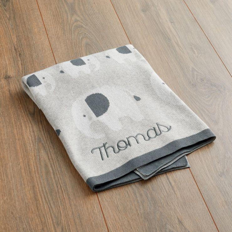 Personalised Grey Elephant Knitted Intarsia Blanket Main