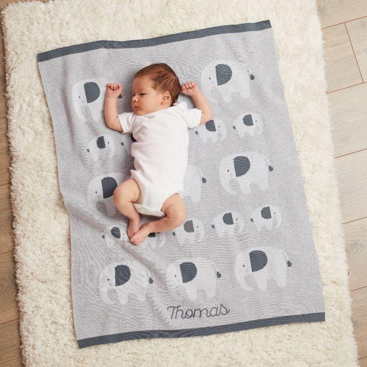 Personalised Grey Elephant Knitted Intarsia Blanket  Model