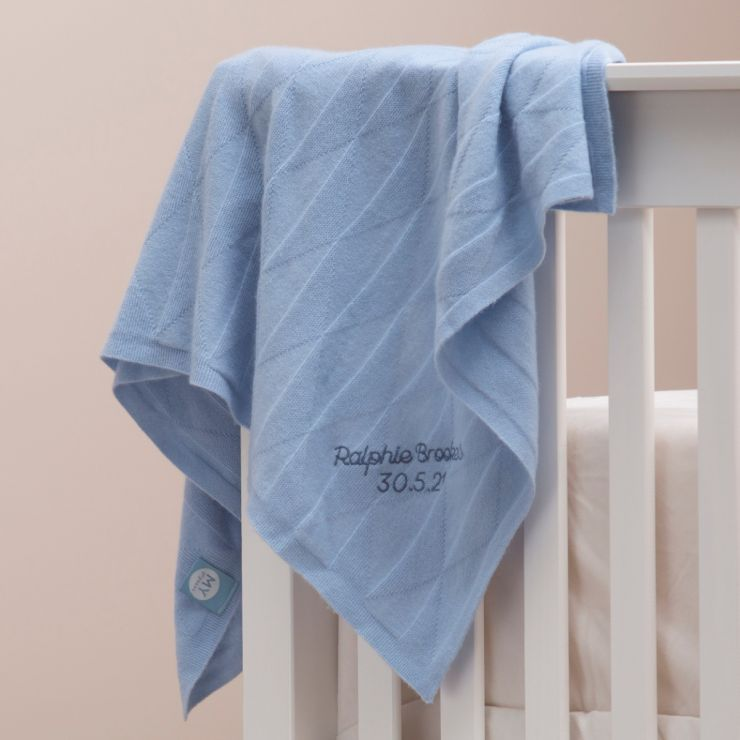 Personalised 100% Cashmere Blue Baby Blanket