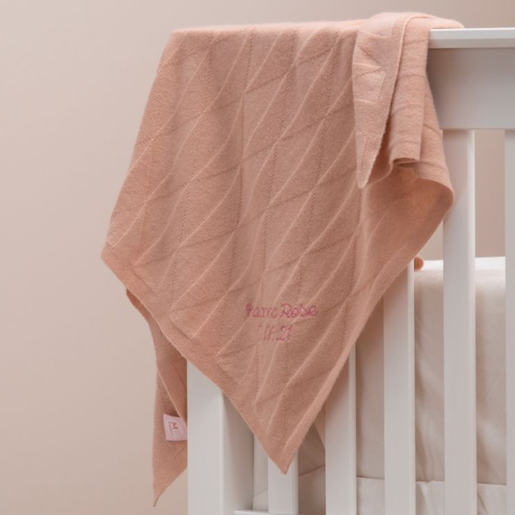 Personalised 100% Cashmere Pink Baby Blanket