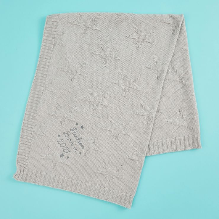 Personalized 'Born in 2021' Grey Star Jacquard Baby Blanket