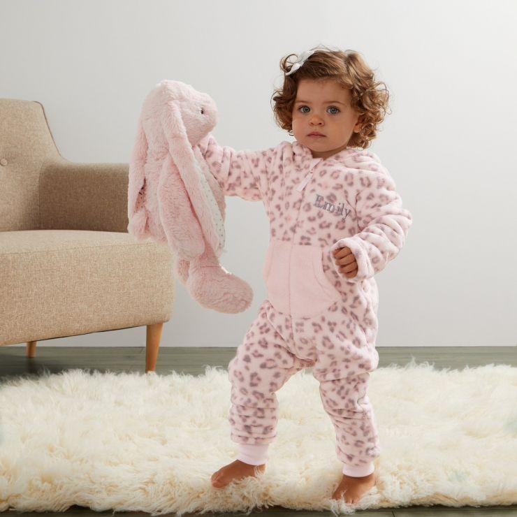 Personalised Pink Leopard Print Fleece Onesie - Model