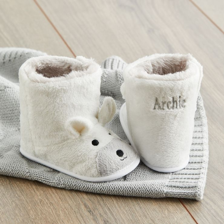 Personalised White Polar Bear Booties