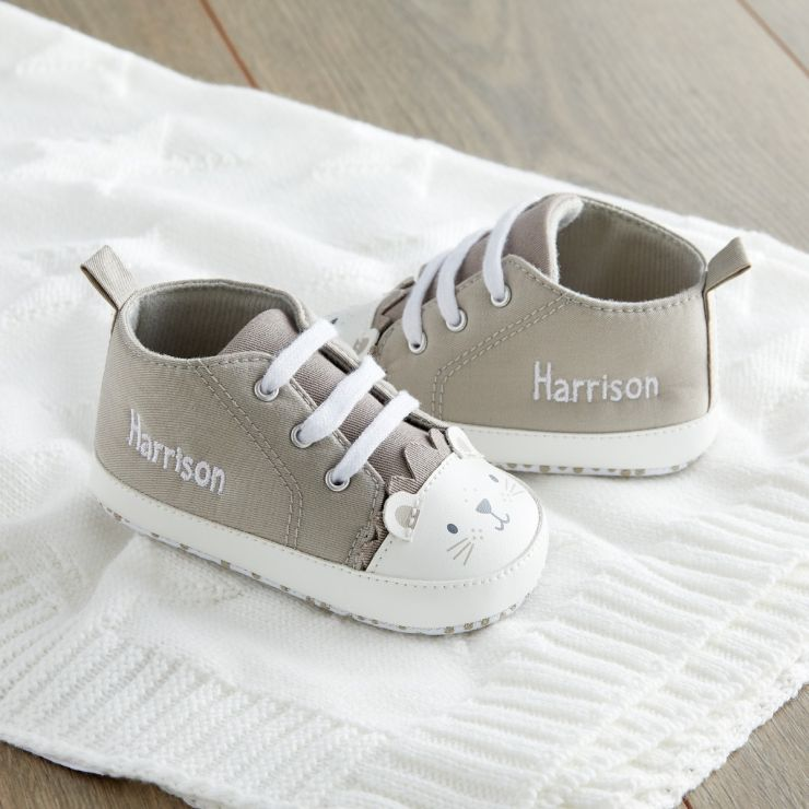 Personalised Taupe Lion High Top Trainers