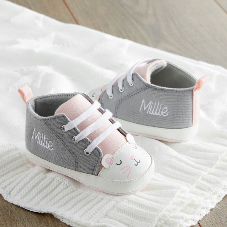 Personalised Grey Mouse High Top Trainers