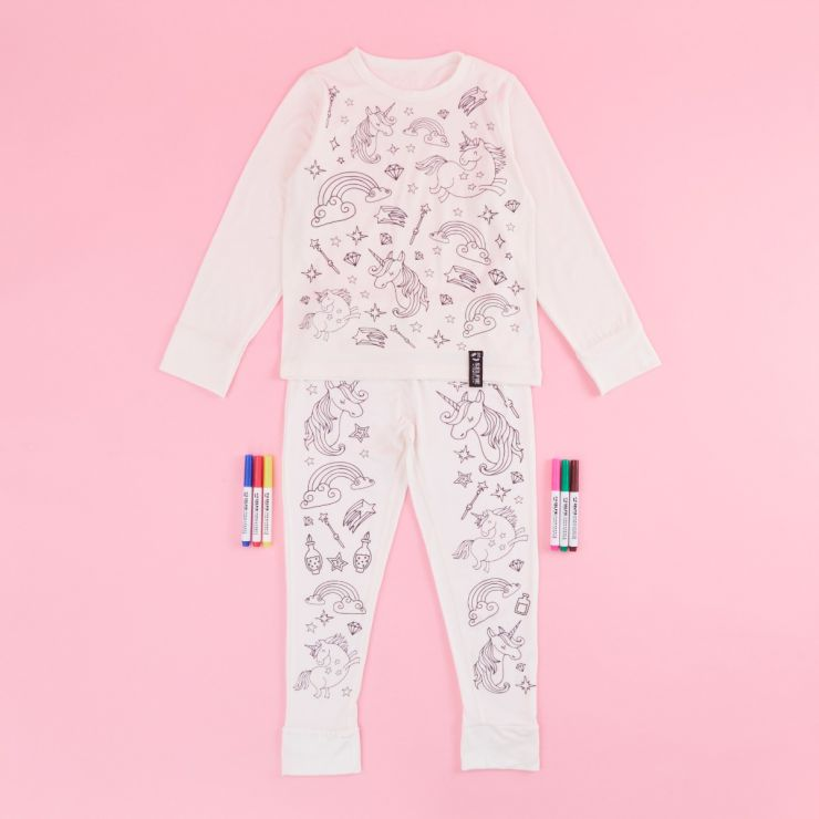 Unicorn Design Colour Yourself Pyjama Set