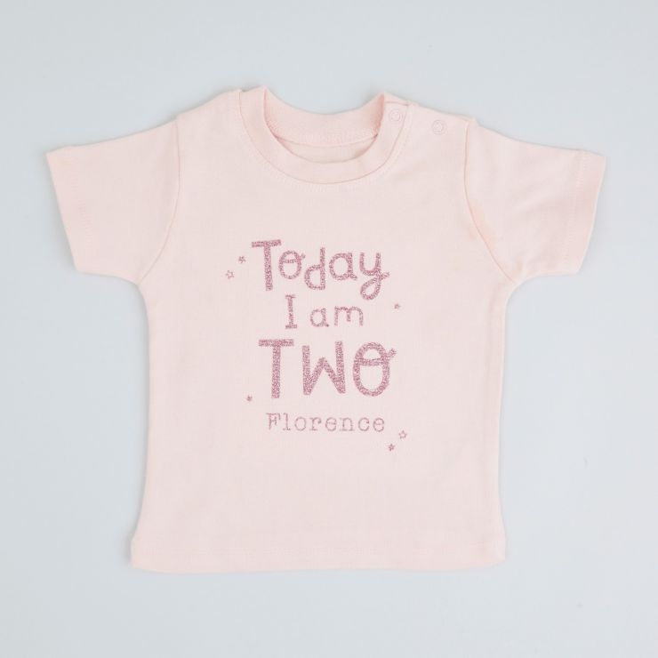 Personalised Pink 'Today I am 2' T-Shirt
