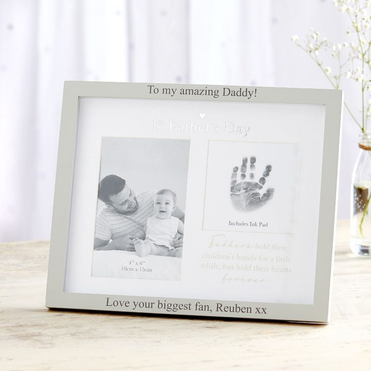 Personalized Double Picture '1st Father's Day' Picture Frame
