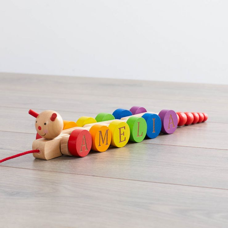 Personalized Wooden Pull Along Caterpillar