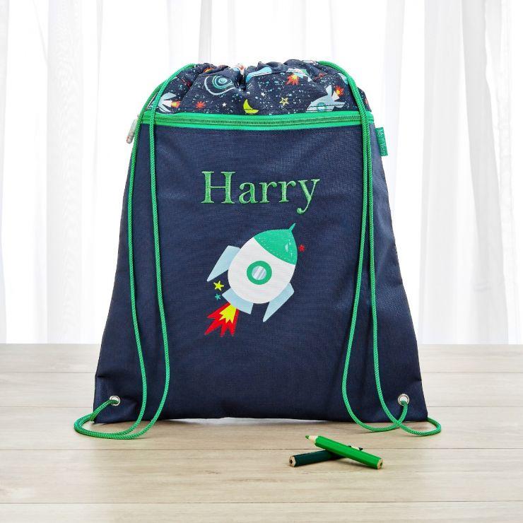 Personalized Space Print Drawstring Bag