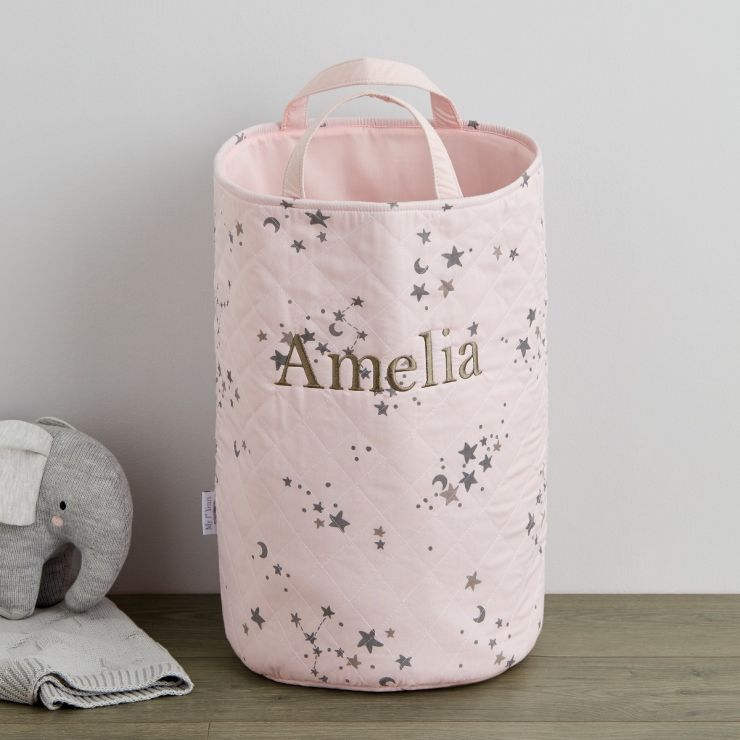 Personalised Pink Tall Ditsy Star Storage Bag