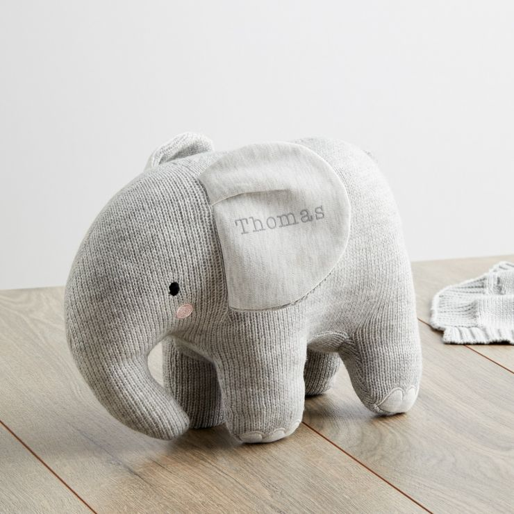 Personalized Gray Knitted Elephant Stuffed Animal