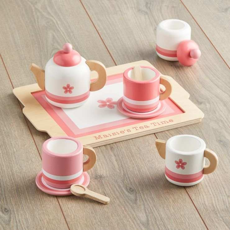 Personalized Pink Wooden Tea Set