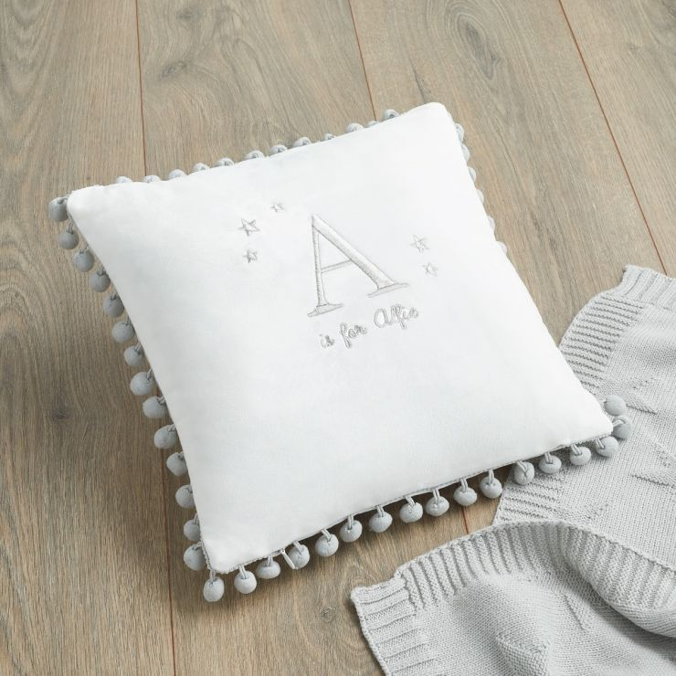 Personalised Pom Pom Cushion Silver Option