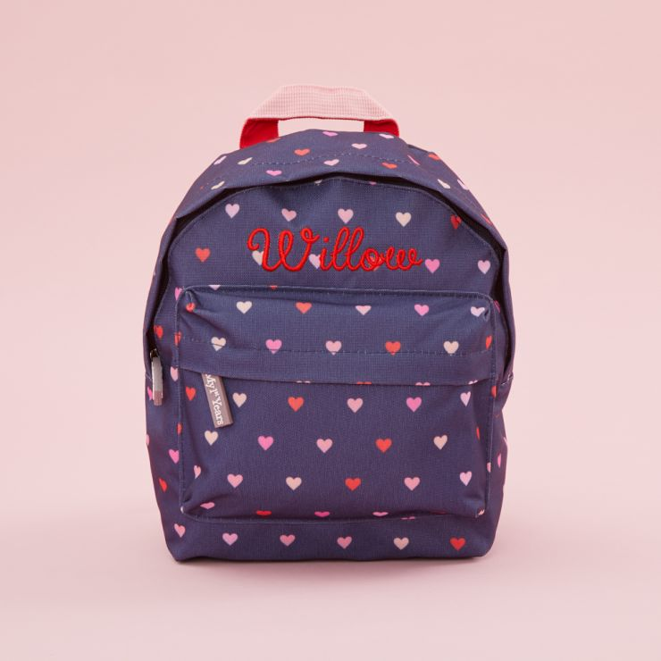 Personalised Heart Print Mini Backpack