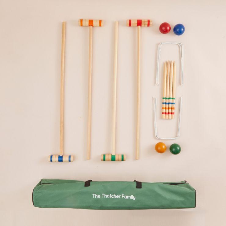 Personalised Junior Wooden Croquet Play Set