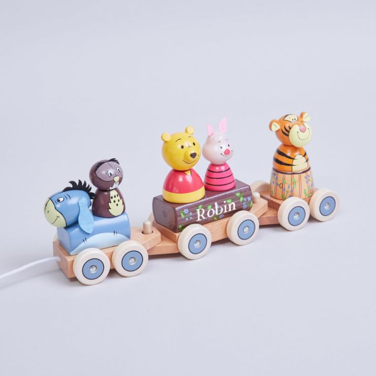 Personalised Winnie the Pooh Pull-Along Train Toy