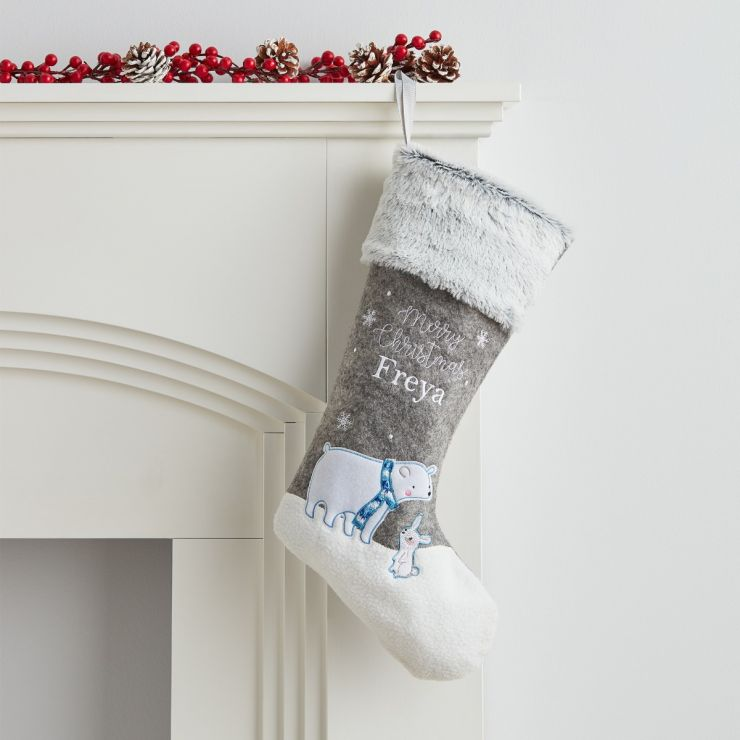 Personalized Small Polar Bear Stocking With Fur Cuff