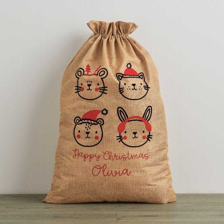 Personalized Festive Animal Hessian Christmas Sack