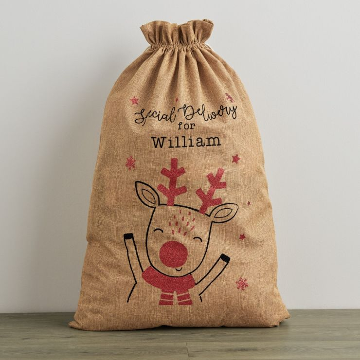 Personalized Special Delivery Hessian Christmas Sack