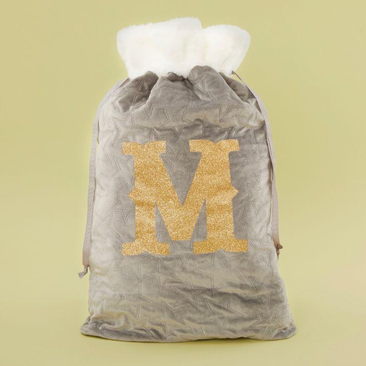 Personalized Embossed Gray Velvet Christmas Sack