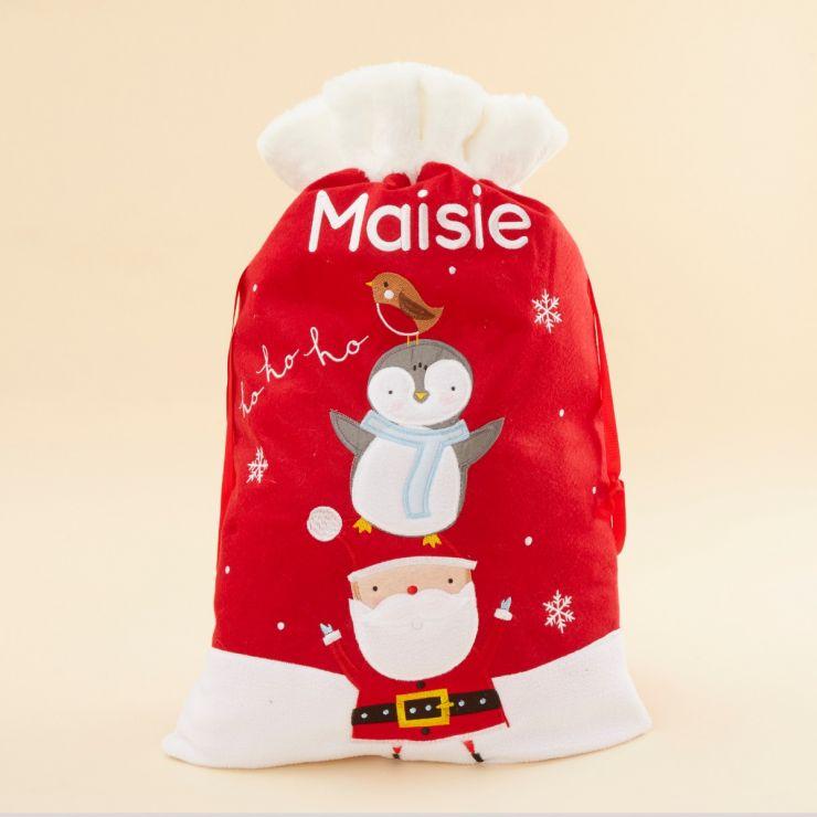 Personalised Fur Top Santa & Penguin  Sack