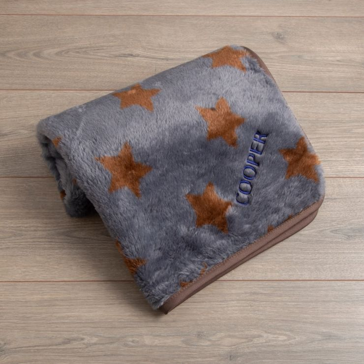 Personalised Brown Star Fleece Pet Blanket