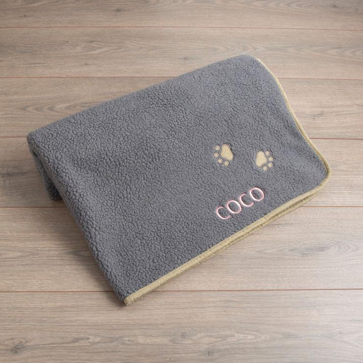 Personalised Grey Paw Pet Blanket